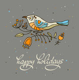 Happy holidays greeting card with bird. Vector illustration. Happy holidays greeting card with stylized bird. Vector illustration.  Dark background Stock Photo