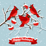 Happy holidays greeting card with birds red Stock Photos