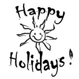 Happy Holidays Greeting card black and white. Isolated Royalty Free Stock Images