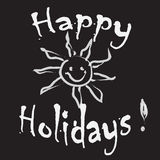 Happy Holidays Greeting card black and white. Isolated Stock Photography