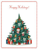 Happy holidays! greeting card. With Christmas tree Royalty Free Stock Photo
