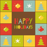 Happy holidays. Greeting card with colored element Stock Image