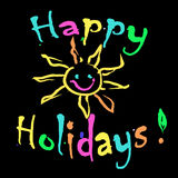 Happy Holidays Greeting card colorful. On black Stock Image