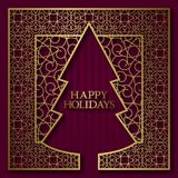 Happy Holidays greeting card cover background with golden ornamental frame in Christmas tree shape.  Royalty Free Stock Photos