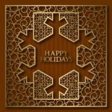 Happy Holidays greeting card cover background with golden ornamental frame in snowflake shape.  Royalty Free Stock Photography