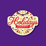 Happy holidays greeting card decorated with confetti, stars, ribbon and garland with flags. Festive label or sticker. Happy holidays greeting card decorated with Royalty Free Stock Images
