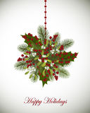 Happy Holidays greeting card with fir branches, mistletoe and be. Rries decoration Royalty Free Stock Images