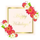 Happy holidays greeting card with frame and flowers. Happy holidays greeting card with shiny frame and flowers set. Vector illustration of festival decorated Stock Photos