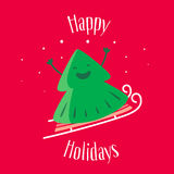 Happy Holidays. Greeting card with fun Christmas tree on sledges. Vector stock illustration