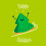 Happy Holidays. Greeting card with fun Christmas tree on sledges. Vector. Illustration Royalty Free Stock Image