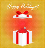 Happy Holidays Greeting Card Gift Box with Bauble Golden Background Royalty Free Stock Photography