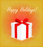 Happy Holidays Greeting Card Gift Box Red & Golden Background Royalty Free Stock Photo
