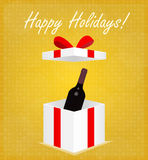 Happy Holidays Greeting Card Gift Box with Wine Golden Background Royalty Free Stock Images