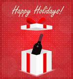 Happy Holidays Greeting Card Gift Box with Wine Red Background Stock Photography