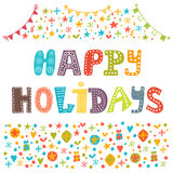 Happy Holidays greeting card. Illustration for holiday design. Vector illustration Royalty Free Stock Image