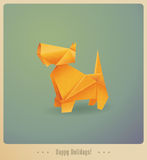 Happy Holidays! Greeting card. Origami dog Stock Image
