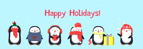 Happy Holidays greeting card with penguins. Cute penguins vector illustration vector illustration