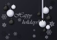 Happy holidays greeting card with silver and black balls decoration. Premium luxury chrome decoration background for. Holiday greeting card Royalty Free Stock Photos