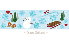 Happy Holidays greeting card. With snowman (vector Stock Photos
