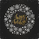 Merry christmas illustration. Happy holidays greeting card template. Modern winter lettering with snowflakes on chalkboard. Merry Christmas vector illustration royalty free illustration