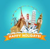 Happy holidays greeting card for travel agency or post card. Vector illustration stock illustration