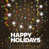 Happy Holidays greeting card. Vector greeting card with garland Stock Photo