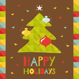Happy Holidays. Greeting Card With Christmas Tree. Royalty Free Stock Images