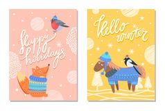Happy Holidays Greeting Cards Squirrel Donkey Bird. Happy holidays hello winter greeting cards with squirrel in warm sweater and bullfinch in knitted hat, cute Stock Image