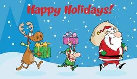 Happy holidays greeting with santa claus stock illustration