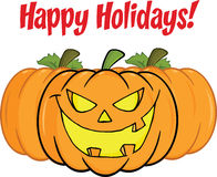 Happy Holidays Greeting With Smiling Pumpkin Stock Photography