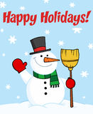 Happy Holidays Greeting With A Snowman Stock Images