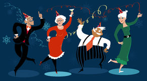 Happy holidays. Group of active seniors dancing at a winter holidays party, EPS 8 vector illustration, no transparencies vector illustration