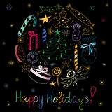 Happy Holidays! Hand Drawn Colorful Doodle Holiday Set with Candies, Gifts, Candle, Fir Trees, Angel, Stars and Snowflakes. Children Cute Drawings Arranged in stock illustration