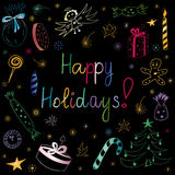 Happy Holidays! Hand Drawn Colorful Doodle Holiday Set with Candies, Gifts, Candle, Fir Trees, Angel, Stars and Snowflakes. Children Cute Drawings on Black stock illustration