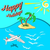 Happy Holidays. Hand drawn illustration. Airplane flying through sea to island in the blue sky Royalty Free Stock Photography