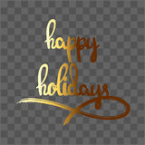 Happy Holidays hand drawn lettering stock image