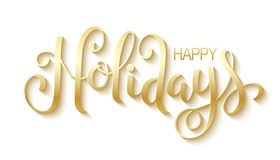 HAPPY HOLIDAYS hand lettering banner. Gold metallic effect. Vector royalty free illustration