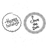 Happy holidays hand lettering. Happy holidays handwritten vector illustration, dark brush pen lettering  on white background Stock Photography