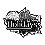 Happy Holidays. Hand lettering typography text. Doodles. vector illustrator. EPS file available. see more images related Royalty Free Stock Photography