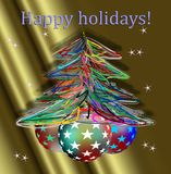 Happy holidays and hand made Christmas tree. On golden background Stock Image