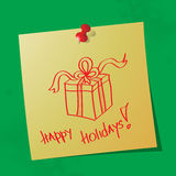 Happy holidays handwritten message. On sticky paper, eps10 vector illustration stock illustration