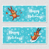 Happy Holidays horizontal banners with cute cartoon deer Stock Image