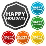 Happy Holidays icons set with long shadow. Vector icon Royalty Free Stock Photo