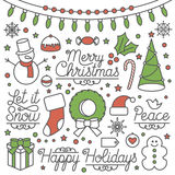 Happy Holidays Illustrations and Type. Happy Holidays set with illustrations and custom typography. East to edit Royalty Free Stock Photo