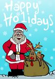 Happy Holidays. Image of Santa and the reindeer Stock Photo