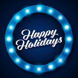 Happy Holidays inscription on retro banner with light bulbs Stock Photography