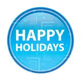 Happy Holidays floral blue round button royalty free illustration