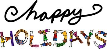happy holidays kids title text royalty free stock photography - Holiday Cartoon Images