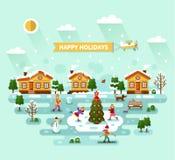 Happy holidays landscape. Flat design vector nature winter landscape illustration with village, Christmas tree on ice, skating girl, skiing boy, snowman, bench vector illustration