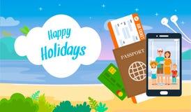 Happy Holidays Lettering on Cartoon Travel Banner vector illustration